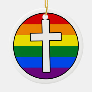Rainbow Cross Ceramic Ornament