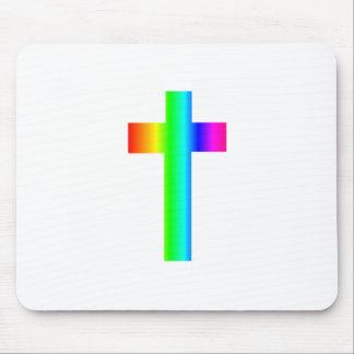 Rainbow Cross Mouse Pad