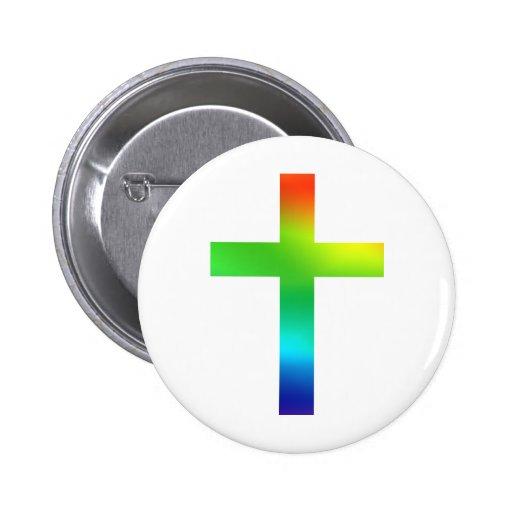 Rainbow Cross Pinback Button