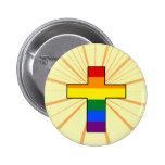 Rainbow Cross Round Button