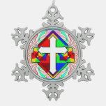 Rainbow Cross Snowflake Pewter Christmas Ornament