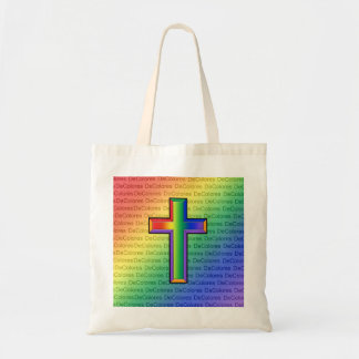 Rainbow Cross with DeColores Text Budget Tote Bag