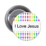 Rainbow Crosses Pinback Button