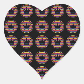 Rainbow Crowns 2 Heart Sticker