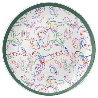 "Rainbow Crustacean 10.75"" Porcelain Plate"
