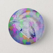 Rainbow Cubism Equine Art Pinback Button