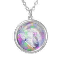 Rainbow Cubism Equine Art Silver Plated Necklace