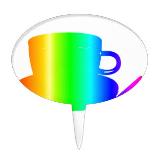 Rainbow Cup, Saucer, Spoon Cake Topper