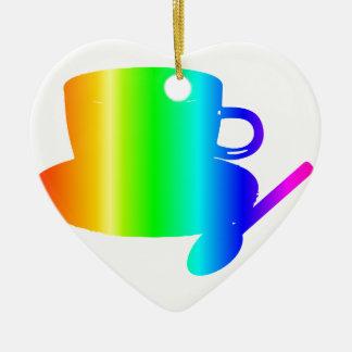 Rainbow Cup, Saucer, Spoon Ceramic Ornament