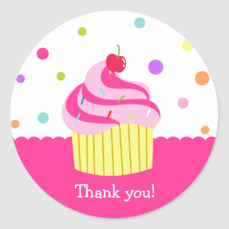 Rainbow Cupake Birthday Thank you Stickers Labels