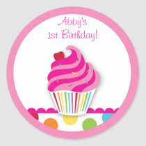 Rainbow Cupcake Birthday Envelope Seals Stickers