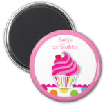 Rainbow Cupcake Birthday Party Favor Magnets