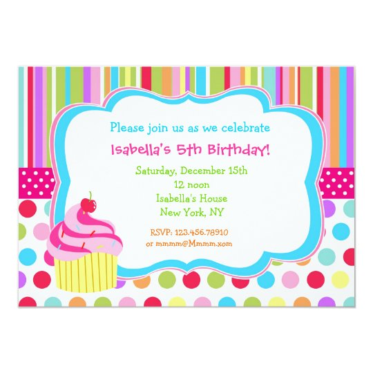 Rainbow Cupcake Birthday Party Invitations