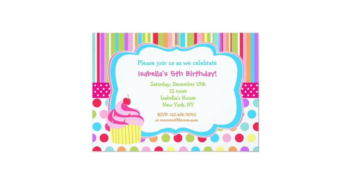 Rainbow Cupcake Birthday Party Invitations   Zazzle.com
