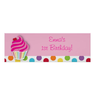 Rainbow Cupcake Birthday Personalized Banner Sign Poster