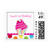 Rainbow Cupcake Birthday Postage Stamps