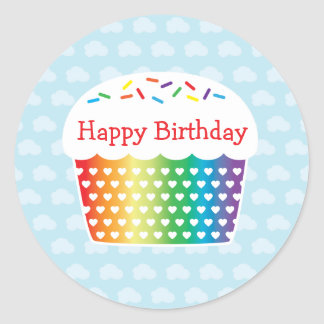 Rainbow Cupcake Birthday Sticker