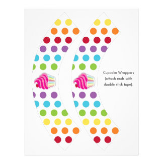 Rainbow Cupcake Cherry Cupcake Wrappers Full Color Flyer