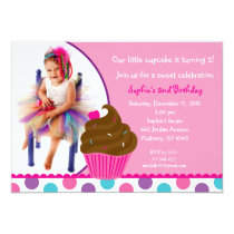 Rainbow Cupcake Cherry Photo Birthday Invitations