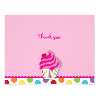 Rainbow Cupcake Flat Thank You Note Cards