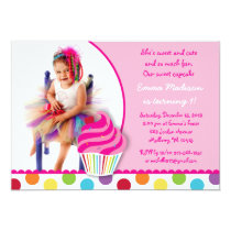 Rainbow Cupcake Girls Photo Birthday Invitations