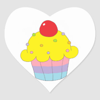 Rainbow Cupcake Heart Sticker