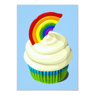 Rainbow cupcake invitation