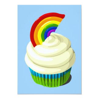 Rainbow cupcake invitation