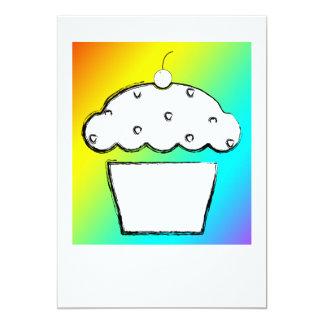 rainbow cupcake 5x7 paper invitation card