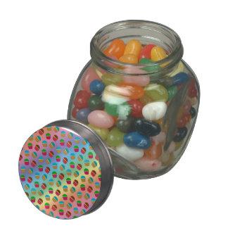 Rainbow cupcake pattern glass candy jar