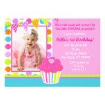 Rainbow Cupcake Photo Birthday Party Invitation
