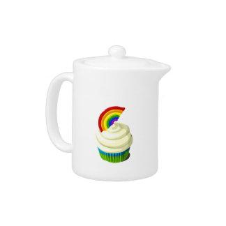 Rainbow cupcake teapot