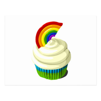 Rainbow cupcake template products postcard