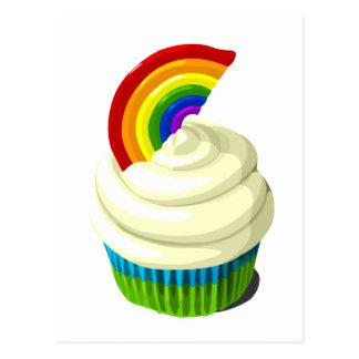 Rainbow cupcake template products postcard