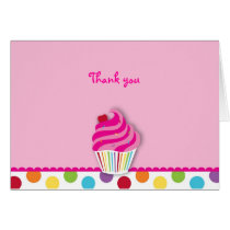 Rainbow Cupcake Thank You Note Cards