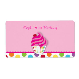 Rainbow Cupcake Water Bottle Stickers Labels