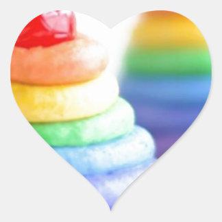 Rainbow cupcakes heart sticker