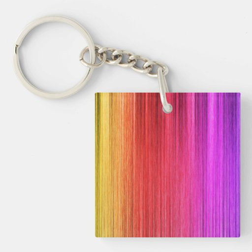 Rainbow Curtain Design Square Acrylic Keychain
