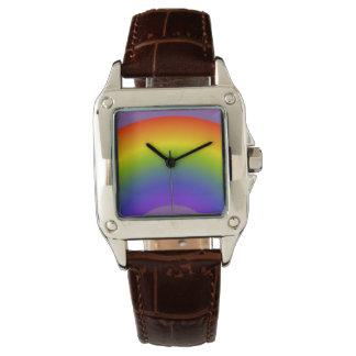 Rainbow Custom Perfect Square Brown Leather Wrist Watch