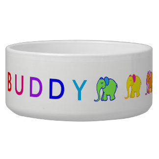 Rainbow Custom Pet's Name Cartoon Elephants Parade Bowl
