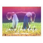 Rainbow Custom Photo Gay/Lesbian Save the Date Postcard