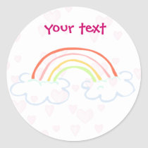 rainbow cute classic round sticker