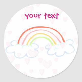 rainbow cute classic round sticker