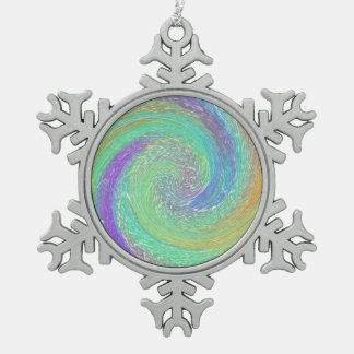 Rainbow Cyclone Absract Art Snowflake Pewter Christmas Ornament