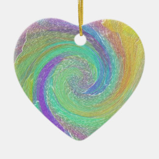 Rainbow Cyclone Abstract Art Ceramic Ornament