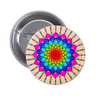 Rainbow Dahlia Flower Mandala Button