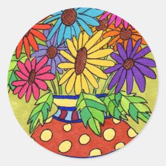 Rainbow Daisies in Designer Vase Classic Round Sticker