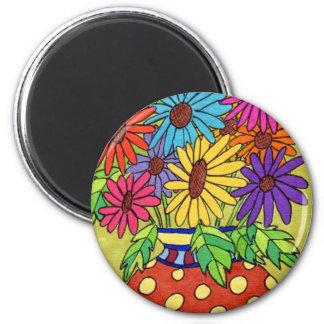 Rainbow Daisies in Designer Vase Magnet