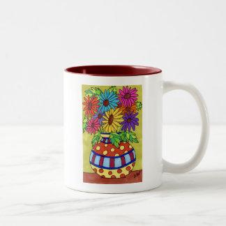 Rainbow Daisies in Designer Vase Mugs
