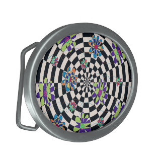 Rainbow Daisies Kaleidoscope Oval Belt Buckles